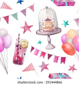 Watercolor party seamless pattern. Hand drawn vintage background with celebration objects: lemonade glass, air balloons, flags garland, naked cake, stars, gift box. Vector design texture