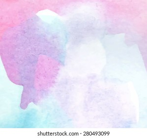 Watercolor pastel violet pink blue hand drawn paper texture background. Wet brush painted abstract vector illustration. Colorful design card for banner, wallpaper, decoration, web, print, template