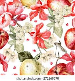 Watercolor pattern with apples and flowers of pomegranate and apple. Vector.