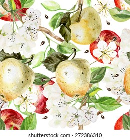 Watercolor Pattern with apples and flowers. Vector illustration