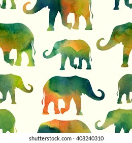 Watercolor pattern with elephants. Vector illustration