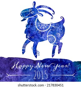 Watercolor pattern goat. Chinese astrological sign. New Year 2015. Vector illustration