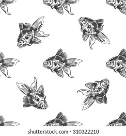 watercolor pattern with golden fish. black and white ink