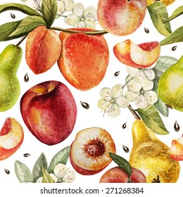 Watercolor Pattern with pears, peaches and flowers. Vector.