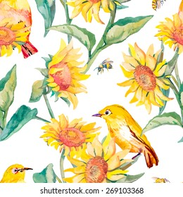 Watercolor pattern. Tropical birds and flowers. White-eye bird and sunflower. Vector.