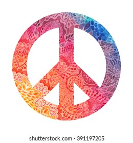 Watercolor peace symbol made of painted zentangles, pacifism sign. Hippie style ornamental background. Love and peace, hand-drawn doodle background. Colorful peace symbol retro 1960s, 70s