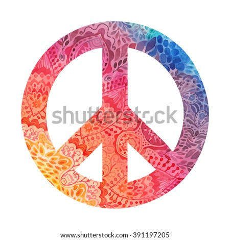 Watercolor Peace Symbol Made Painted Zentangles Stock Vector