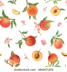 Watercolor peach seamless pattern, tropic fruits, leaves, flowers texture. Vector background illustration for summer cover, tropical wallpaper, vintage backdrop, wedding invitation, party design