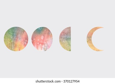 watercolor phases of moon, Vector illustration.