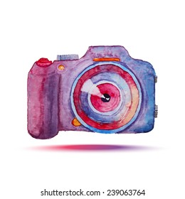 Watercolor photo camera. Isolated hand drawn bright object. Vector illustration