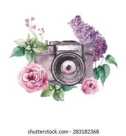 Watercolor photo label. Hand drawn photo camera surrounded by various flowers: roses, lilac, leaves and branches. Vector illustrations collage