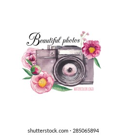 Watercolor photo label. Hand drawn photo camera surrounded by various flowers: roses, peony, leaves and branches. Vector collage logo