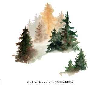 Watercolor pine trees hand drawn illustration isolated on white background