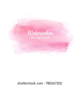 Watercolor pink abstract hand painted background. Watercolor vector texture. Great for card, flyer, poster.