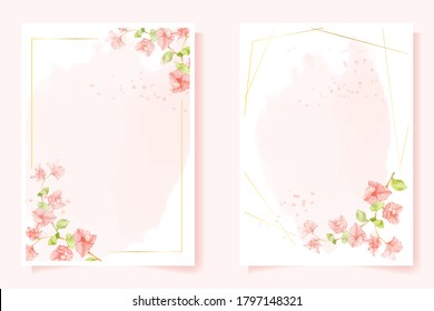watercolor pink Bougainvillea with golden frame for wedding or birthday invitation card 5x7 template collection
