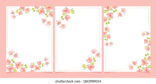 watercolor pink Bougainvillea with  minimal line frame for wedding or birthday invitation card template collection