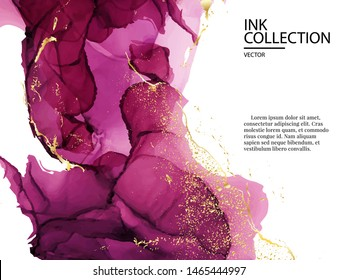 Watercolor pink cloud with information text. Pink gold holographic liquid splash abstract template. Modern creative pastel colors marble decoration template.