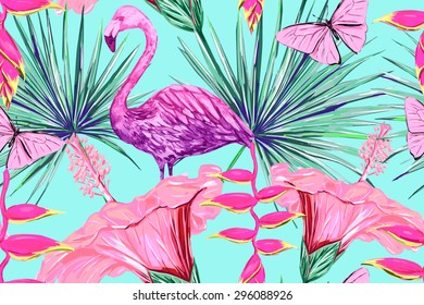 Watercolor pink flamingo, tropical flowers and palm leaves, hibiscus. Beautiful vector seamless floral jungle pattern background, exotic print
