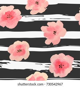 Watercolor pink flowers on grunge stripes, seamless pattern