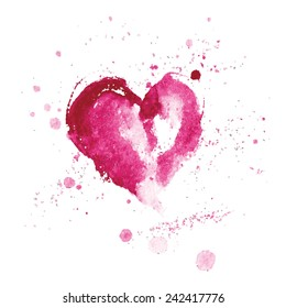 Watercolor pink heart for Valentine's day and Wedding.Vector illustration.