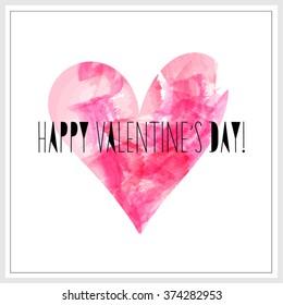 Watercolor pink heart. Vector element