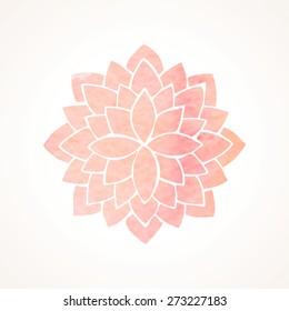 Watercolor pink lotus flower. Mandala. Indian, japanase, chinese oriental round element for design. Logo template. Flower pattern isolated on white background. Vector illustration