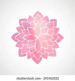 Watercolor pink lotus. Oriental circled element for design. Flower pattern on white background. Vector illustration