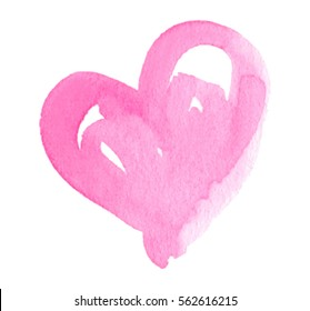 Watercolor pink paper texture hand drawn isolated heart on white background for text design, label, valentine day. Abstract aquarelle light color wet brush paint vector element for card, print, icon