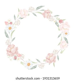 watercolor pink peony bouquet on seeded eucalyptus branch wreath frame isolated on white background digital painting