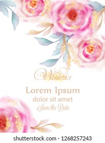 Watercolor pink roses with golden glitter Vector. Invitation card, wedding ceremony, delicate postcard, Women day greeting card. Beautiful colors