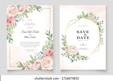 watercolor pink roses wedding invitation card set
