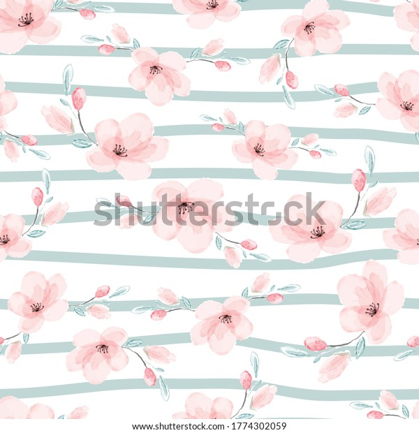 watercolor pink sakura or cherry blossom flower blooming in green strip line seamless pattern