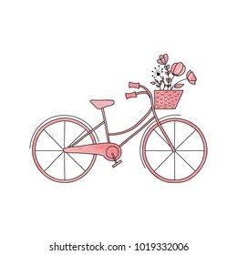 Watercolor pink vector  bike with basket and flowers. Vector modern urban, town and city bicycle. Vector hand drawing illustration.