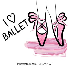 Watercolor pointe shoes with ribbon bow. Hand drawn art work isolated on white background. Vector pastel ballerina shoes hanging. Girl dance print