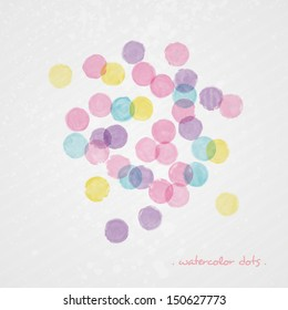 Watercolor polka dot background. Abstract grunge vector composition. Multicolor splashes texture. Bright splashes on grey background