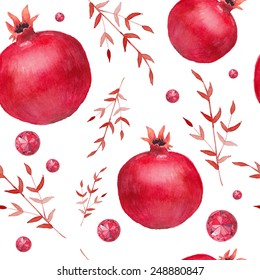 Watercolor pomegranate and red diamonds pattern. Hand drawn seamless texture with floral elements, garnets and jewelry. Vector background