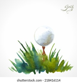 Watercolor poster with the inscription golf. A simple solution for your decor and design. Green grass with ball.
