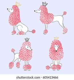 Watercolor princess poodles set. Vector illustration of cute dogs.