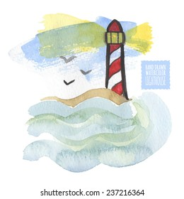 Watercolor print with lighthouse on the white background, aquarelle. Hand-drawn vector illustration. Original sea or navy painting. Useful for invitations, scrapbooking, design.