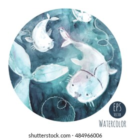 Watercolor print with seals.