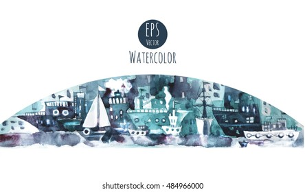 Watercolor print with ships.