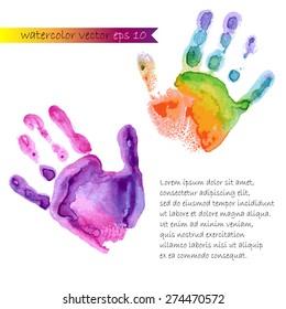 watercolor prints of two hands vector