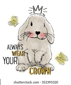 watercolor rabbit illustration with crown for apparel