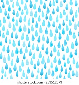 Watercolor rain drops, seamless background with stylized blue raindrops