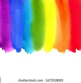 Watercolor rainbow. Abstract painting background. Hand drawn artwork, paper texture. Vector. Colorful. Red, orange, yellow, green, blue, indigo, violet, purple colors. Border frame. Liquid