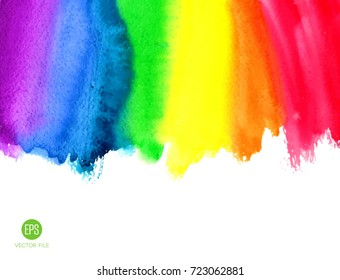 Watercolor rainbow. Abstract painting background. Hand drawn artwork, paper texture. Vector. Colorful. Red, orange, yellow, green, blue, indigo, violet, purple colors. Wallpaper, banner, print