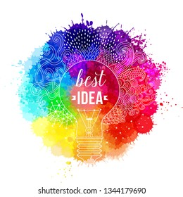 "Watercolor rainbow background. Collection of paint splash watercolor drops. Vector set of brush strokes. Isolated on white background - Vector ""Best idea"" quotation"