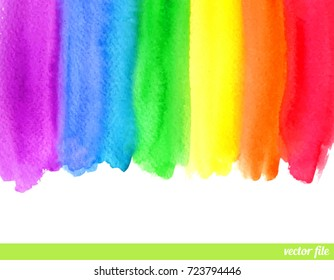 Watercolor rainbow. Border frame. Abstract art painting background. Hand drawn, paper texture. Vector wallpaper. Colorful. Red, orange, yellow, green, blue, violet, purple, white colors. Wonderland