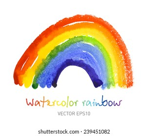Watercolor rainbow. Bright colorful design element. Vector Eps10.