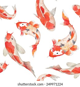 Watercolor rainbow carp pattern. Seamless oriental texture with isolated hand drawn fishes. Underwater wildlife repeating background in vector. Artistic illustration